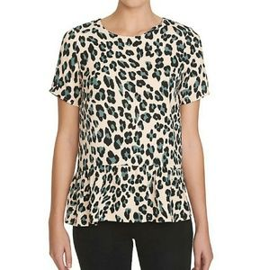 1. State Pink Leopard Peplum Blouse Top